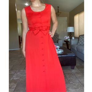 Vintage Red Belted Button Down Maxi Dress